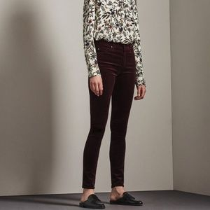 NWT AG The Farrah Velvet High Rise Skinny 27